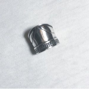 Wide silver band ring size 5 3/4